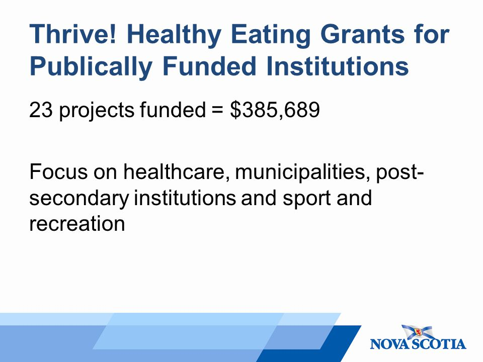 Thrive! Healthy Eating Grants for Publically Funded Institutions 23 projects funded = $385,689 Focus on healthcare, municipalities, post- secondary in