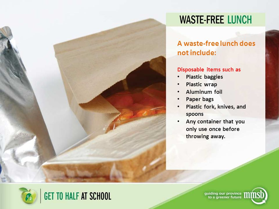 A waste-free lunch does not include: Disposable items such as Plastic baggies Plastic wrap Aluminum foil Paper bags Plastic fork, knives, and spoons Any container that you only use once before throwing away.