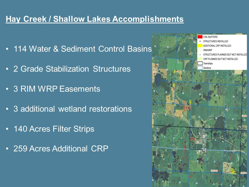 Hay Creek / Shallow Lakes Accomplishments 114 Water & Sediment Control Basins 2 Grade Stabilization Structures 3 RIM WRP Easements 3 additional wetland restorations 140 Acres Filter Strips 259 Acres Additional CRP
