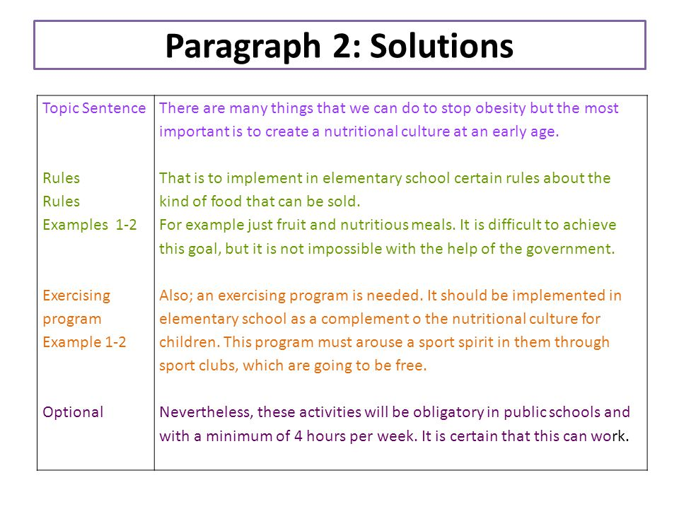 Paragraph 2: Solutions Topic Sentence Rules Examples 1-2 Exercising program Example 1-2 Optional There are many things that we can do to stop obesity