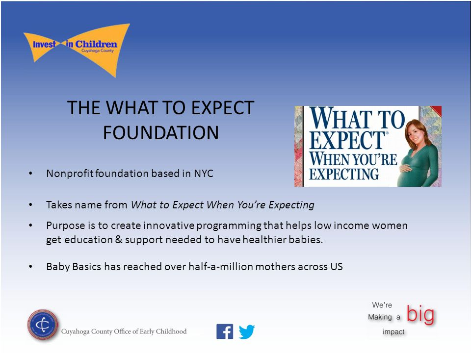 THE WHAT TO EXPECT FOUNDATION Nonprofit foundation based in NYC Takes name from What to Expect When You're Expecting Purpose is to create innovative p