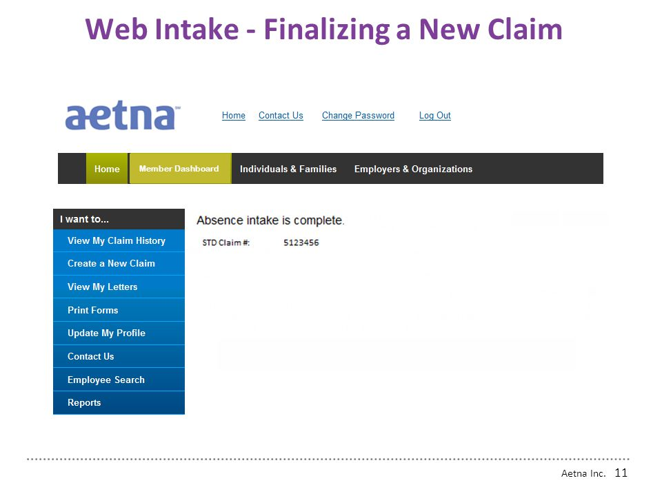 Aetna Inc. 10 Web Intake - Security Options Next Page