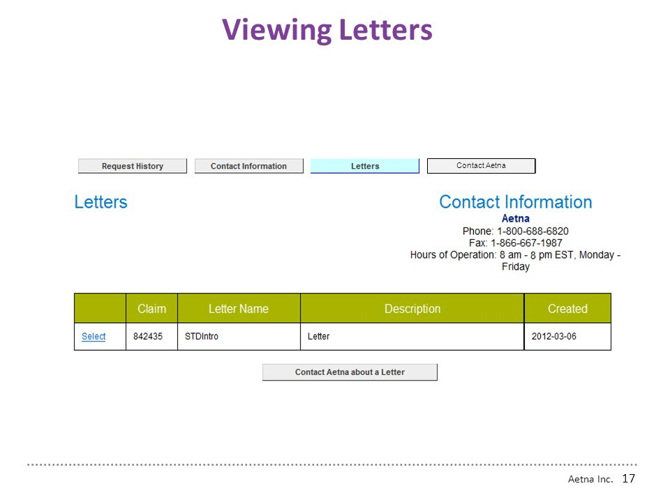 Aetna Inc. 16 Printing and Downloading Letters Back