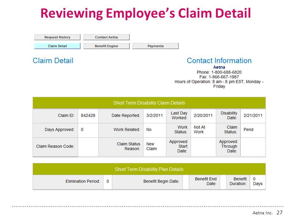 Aetna Inc. Reviewing Employee's Dashboard 26 84429