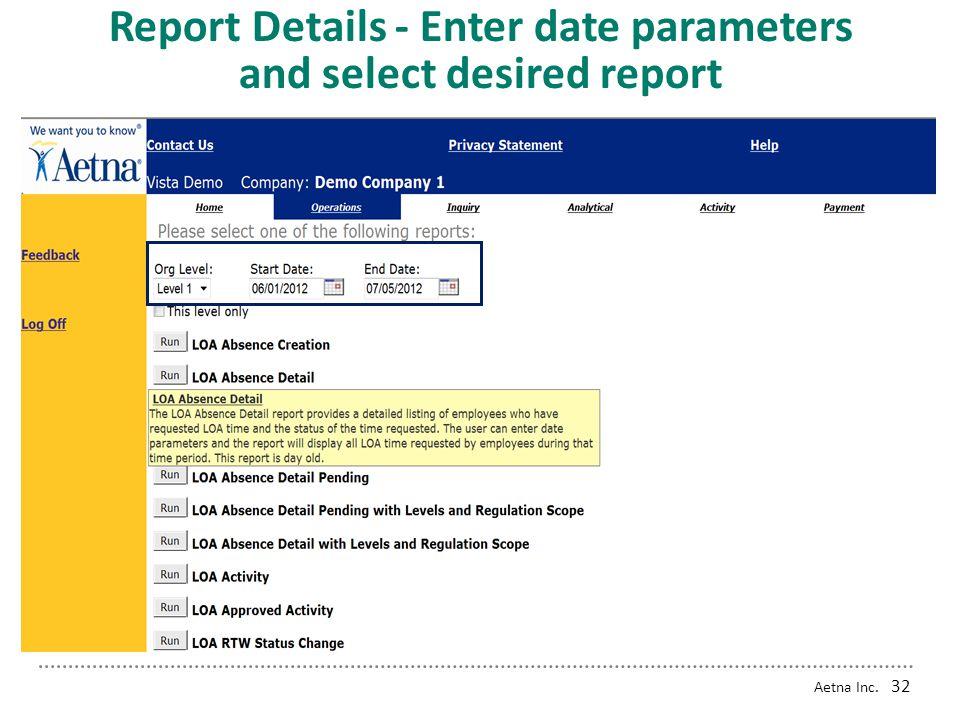 Aetna Inc. 31 Reports Home Screen
