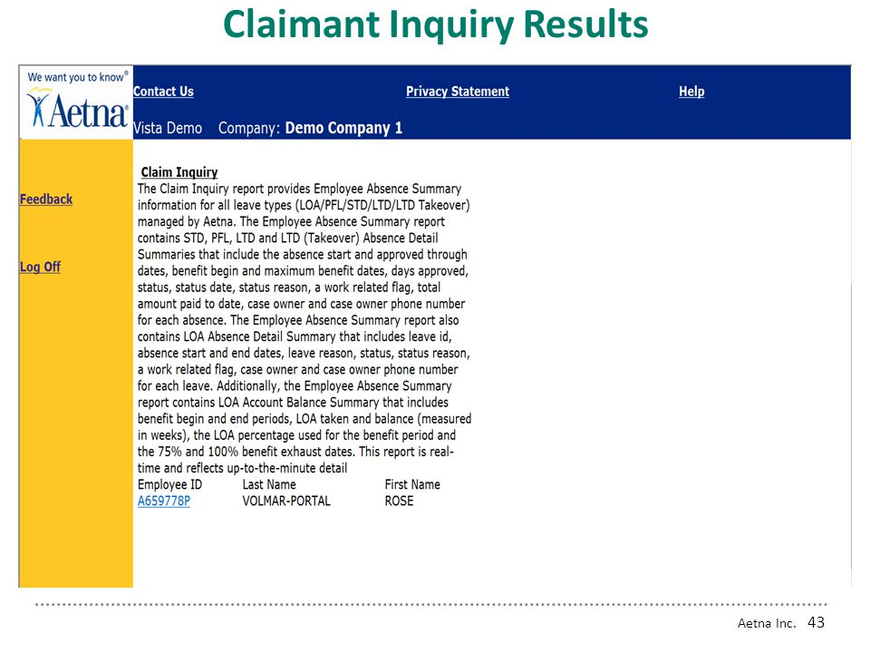 Aetna Inc. 42 Claimant Inquiry