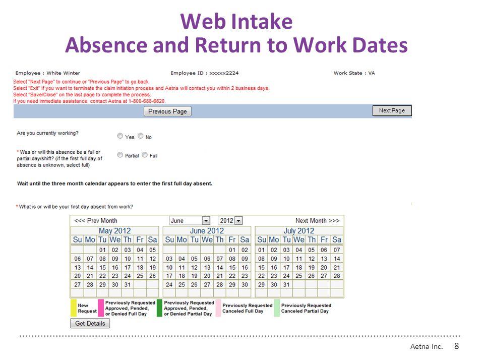 Aetna Inc. 7 Web Intake - Smart Logic Next Page