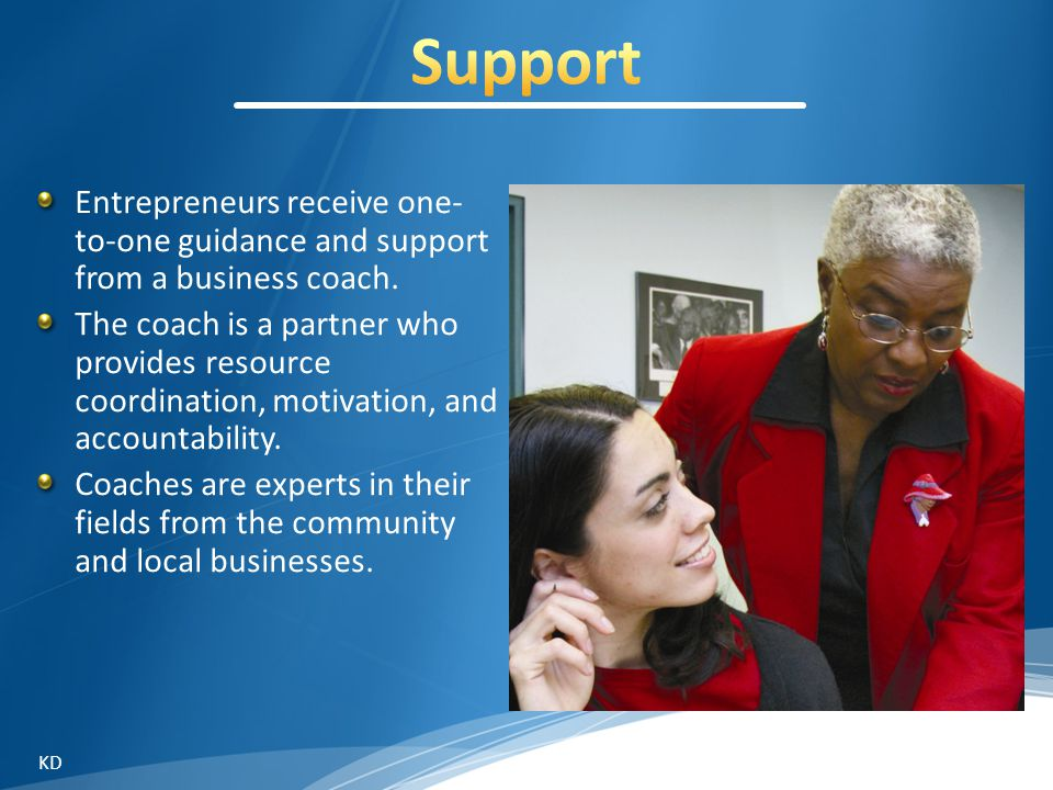 Entrepreneurs receive one- to-one guidance and support from a business coach.