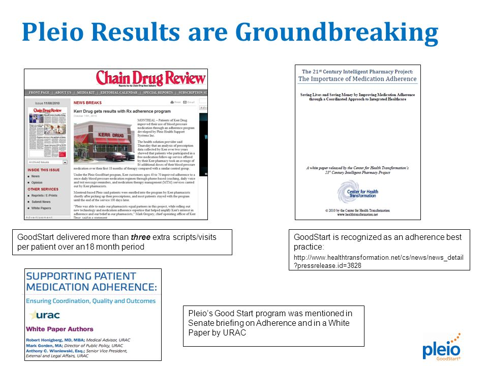 GoodStart delivered more than three extra scripts/visits per patient over an18 month period GoodStart is recognized as an adherence best practice: http://www.healthtransformation.net/cs/news/news_detail pressrelease.id=3828 Pleio's Good Start program was mentioned in Senate briefing on Adherence and in a White Paper by URAC Pleio Results are Groundbreaking