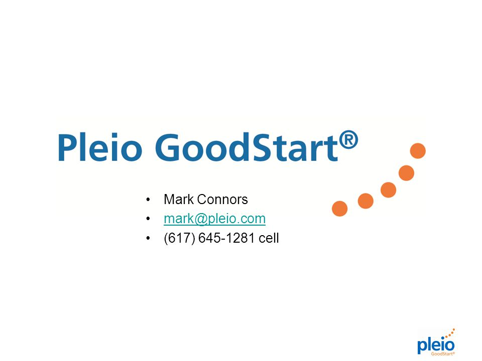 Mark Connors mark@pleio.com (617) 645-1281 cell