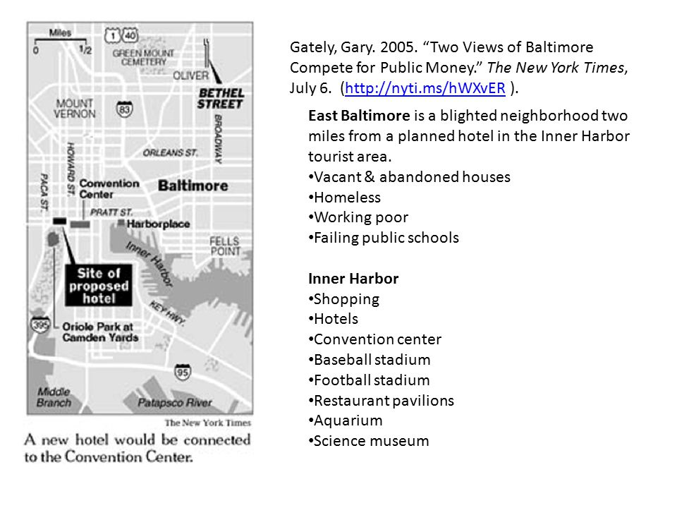 Gately, Gary. 2005. Two Views of Baltimore Compete for Public Money. The New York Times, July 6.