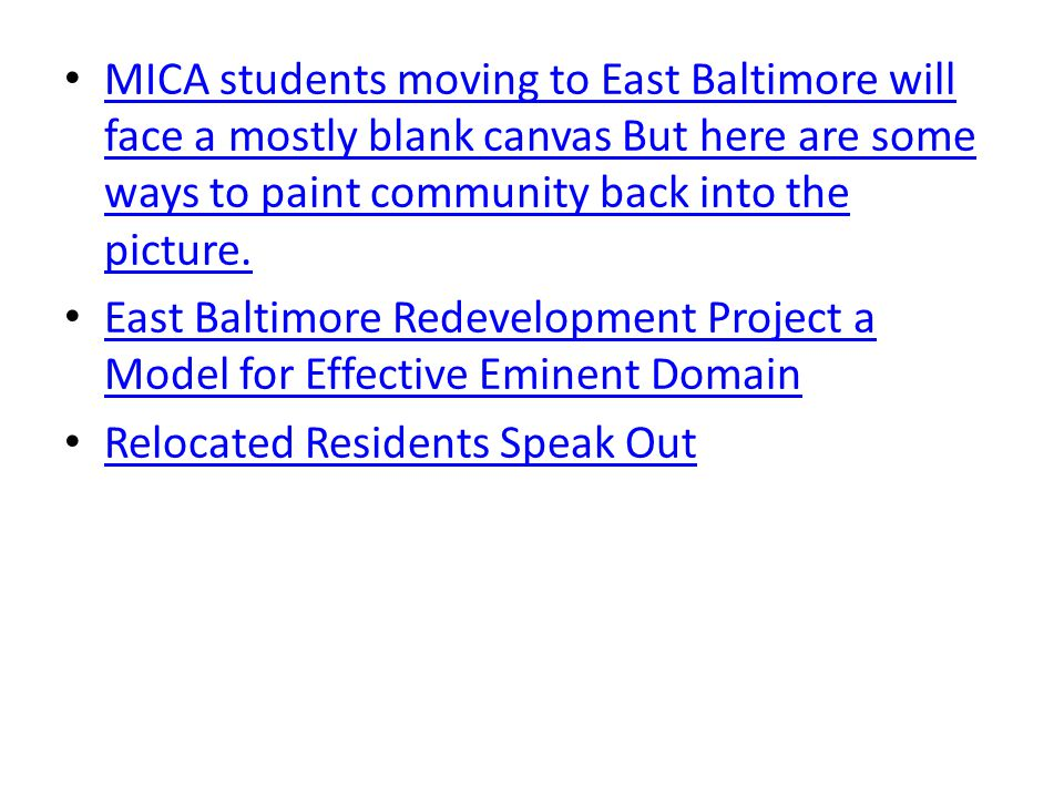 MICA students moving to East Baltimore will face a mostly blank canvas But here are some ways to paint community back into the picture.