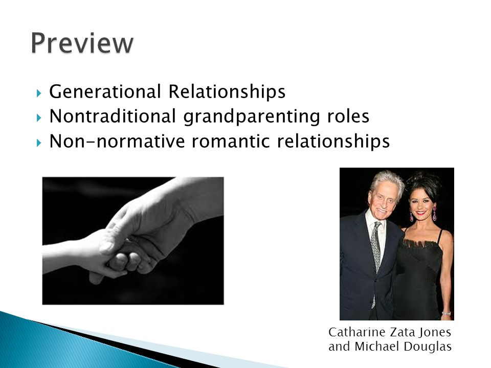  Generational Relationships  Nontraditional grandparenting roles  Non-normative romantic relationships Catharine Zata Jones and Michael Douglas