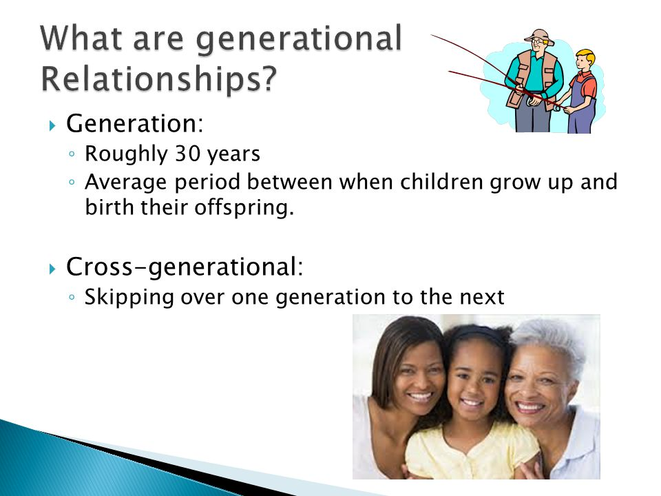  Generation: ◦ Roughly 30 years ◦ Average period between when children grow up and birth their offspring.
