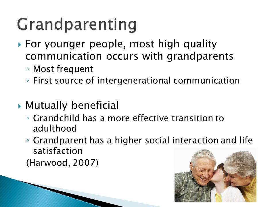  For younger people, most high quality communication occurs with grandparents ◦ Most frequent ◦ First source of intergenerational communication  Mutually beneficial ◦ Grandchild has a more effective transition to adulthood ◦ Grandparent has a higher social interaction and life satisfaction (Harwood, 2007)