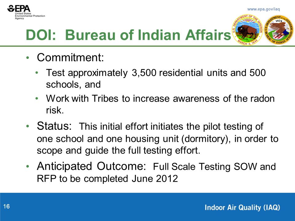 www.epa.gov/iaq 16 DOI: Bureau of Indian Affairs Commitment: Test approximately 3,500 residential units and 500 schools, and Work with Tribes to increase awareness of the radon risk.
