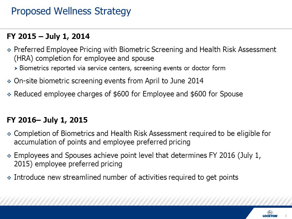 5 Proposed Wellness Strategy FY 2015 – July 1, 2014  Preferred Employee Pricing with Biometric Screening and Health Risk Assessment (HRA) completion for employee and spouse  Biometrics reported via service centers, screening events or doctor form  On-site biometric screening events from April to June 2014  Reduced employee charges of $600 for Employee and $600 for Spouse FY 2016– July 1, 2015  Completion of Biometrics and Health Risk Assessment required to be eligible for accumulation of points and employee preferred pricing  Employees and Spouses achieve point level that determines FY 2016 (July 1, 2015) employee preferred pricing  Introduce new streamlined number of activities required to get points