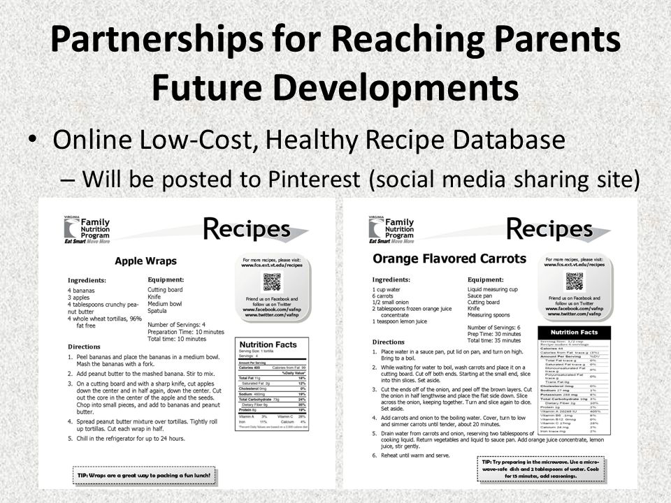 Partnerships for Reaching Parents Future Developments Online Low-Cost, Healthy Recipe Database – Will be posted to Pinterest (social media sharing site)