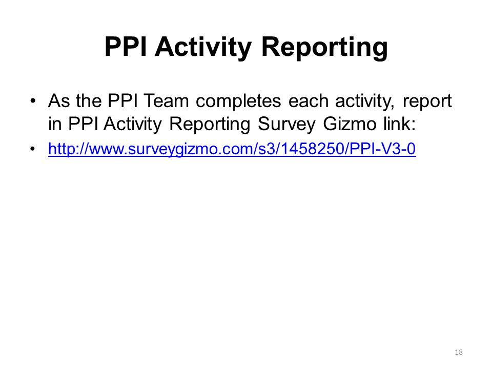 PPI Activity Reporting As the PPI Team completes each activity, report in PPI Activity Reporting Survey Gizmo link: http://www.surveygizmo.com/s3/1458