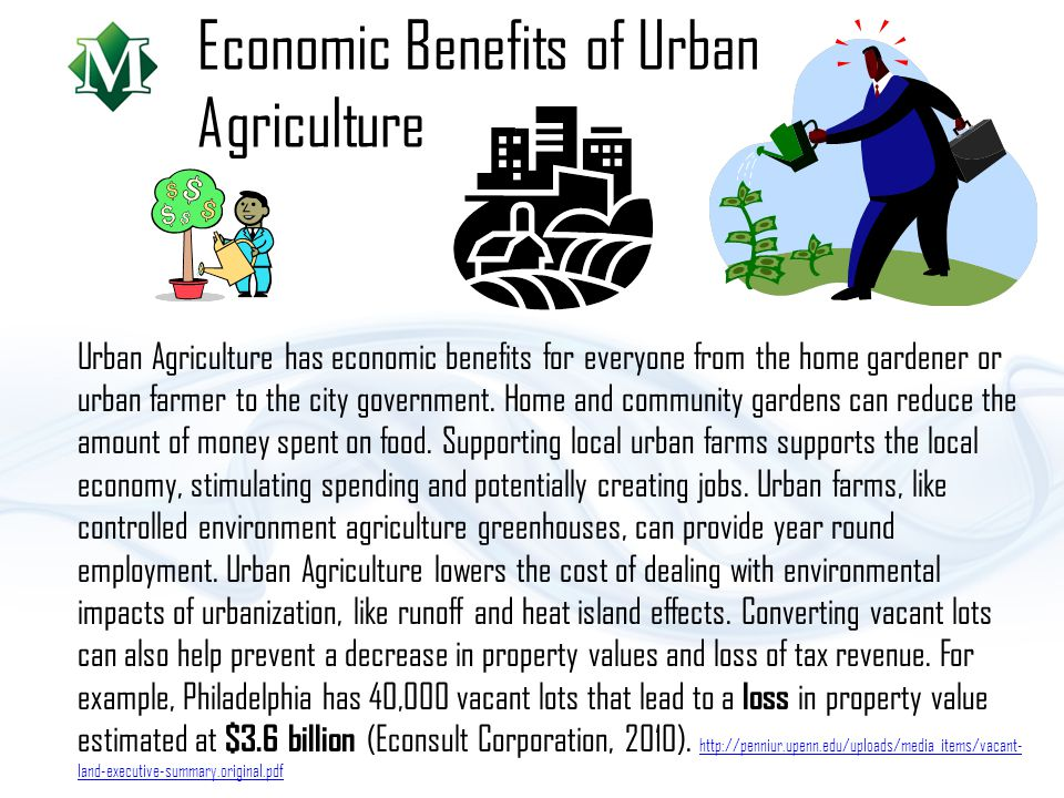 Economic Benefits of Urban Agriculture Urban Agriculture has economic benefits for everyone from the home gardener or urban farmer to the city government.