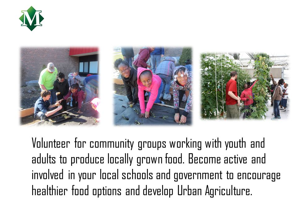 Volunteer for community groups working with youth and adults to produce locally grown food.