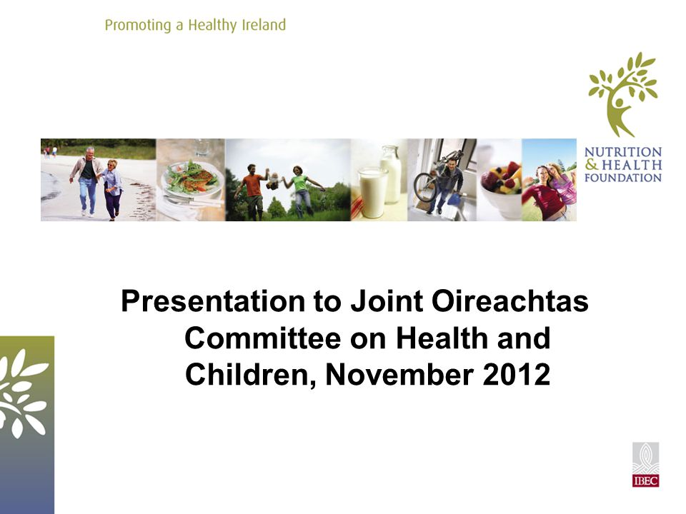 Presentation to Joint Oireachtas Committee on Health and Children, November 2012