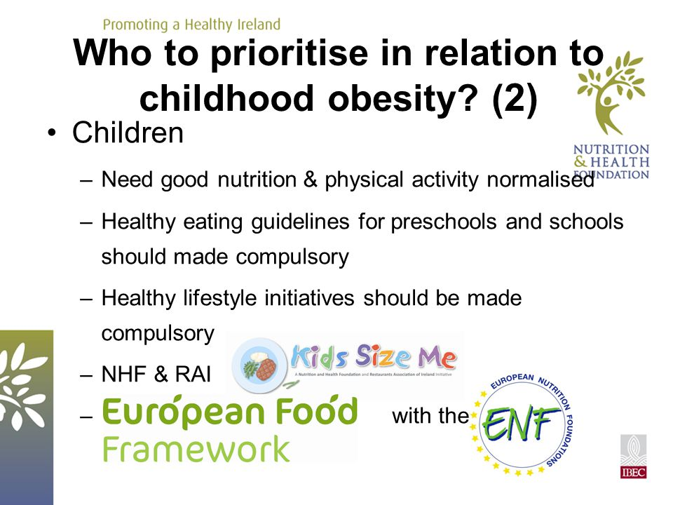 Children –Need good nutrition & physical activity normalised –Healthy eating guidelines for preschools and schools should made compulsory –Healthy lif