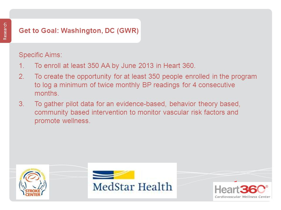 Research Get to Goal: Washington, DC (GWR) Specific Aims:  To enroll at least 350 AA by June 2013 in Heart 360.
