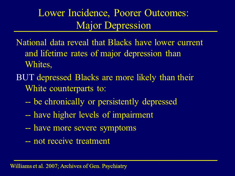Lower Incidence, Poorer Outcomes: Major Depression National data reveal that Blacks have lower current and lifetime rates of major depression than Whites, BUT depressed Blacks are more likely than their White counterparts to: -- be chronically or persistently depressed -- have higher levels of impairment -- have more severe symptoms -- not receive treatment Williams et al.
