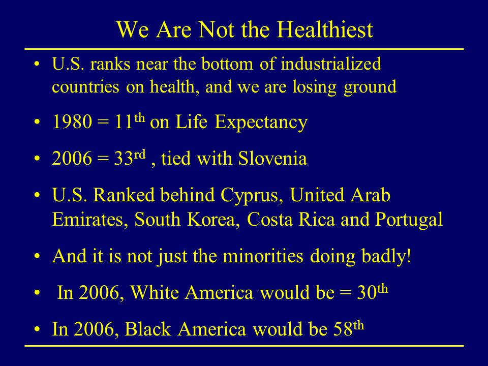 We Are Not the Healthiest U.S. ranks near the bottom of industrialized countries on health, and we are losing ground 1980 = 11 th on Life Expectancy 2