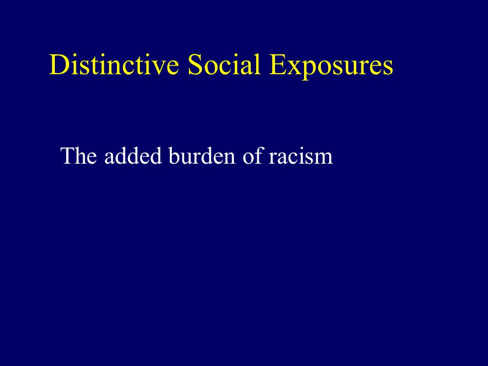 Distinctive Social Exposures The added burden of racism