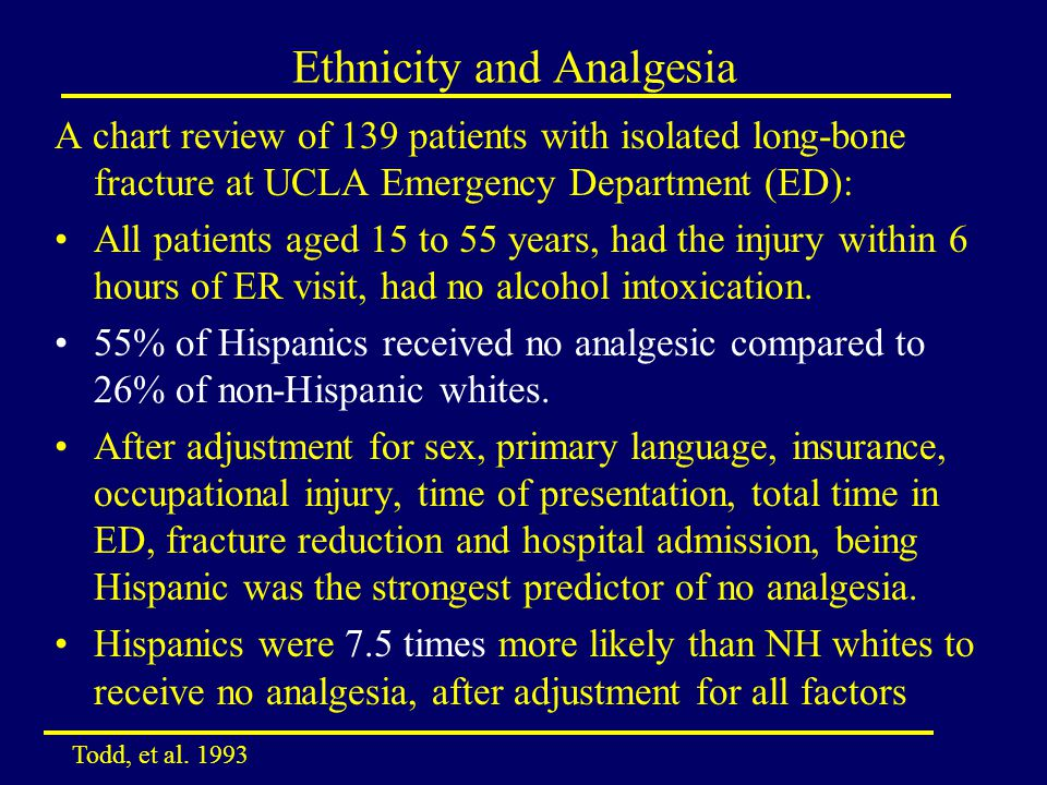 Ethnicity and Analgesia A chart review of 139 patients with isolated long-bone fracture at UCLA Emergency Department (ED): All patients aged 15 to 55