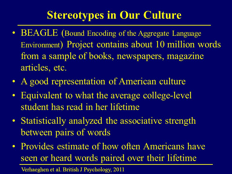 Stereotypes in Our Culture Verhaeghen et al. British J Psychology, 2011 BEAGLE ( Bound Encoding of the Aggregate Language Environment ) Project contai