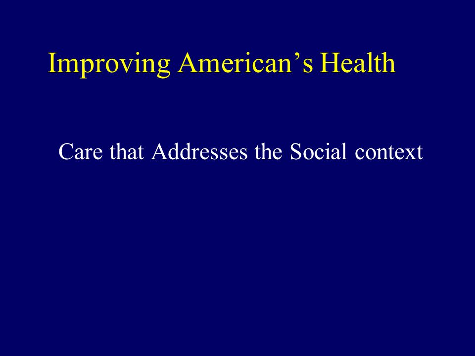 Improving American's Health Care that Addresses the Social context