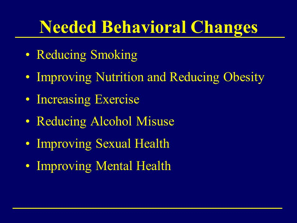 Needed Behavioral Changes Reducing Smoking Improving Nutrition and Reducing Obesity Increasing Exercise Reducing Alcohol Misuse Improving Sexual Health Improving Mental Health