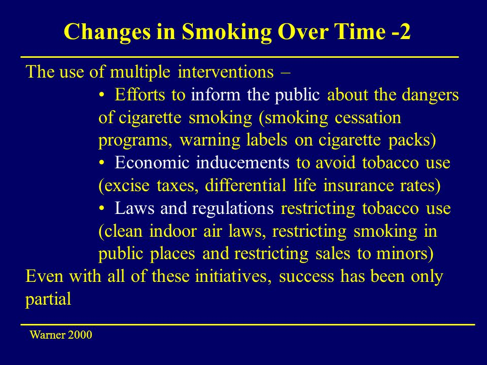 Changes in Smoking Over Time -2 The use of multiple interventions – Efforts to inform the public about the dangers of cigarette smoking (smoking cessation programs, warning labels on cigarette packs) Economic inducements to avoid tobacco use (excise taxes, differential life insurance rates) Laws and regulations restricting tobacco use (clean indoor air laws, restricting smoking in public places and restricting sales to minors) Even with all of these initiatives, success has been only partial Warner 2000