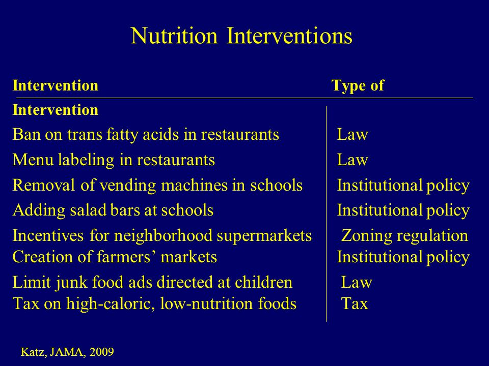 Intervention Type of Intervention Ban on trans fatty acids in restaurants Law Menu labeling in restaurants Law Removal of vending machines in schools