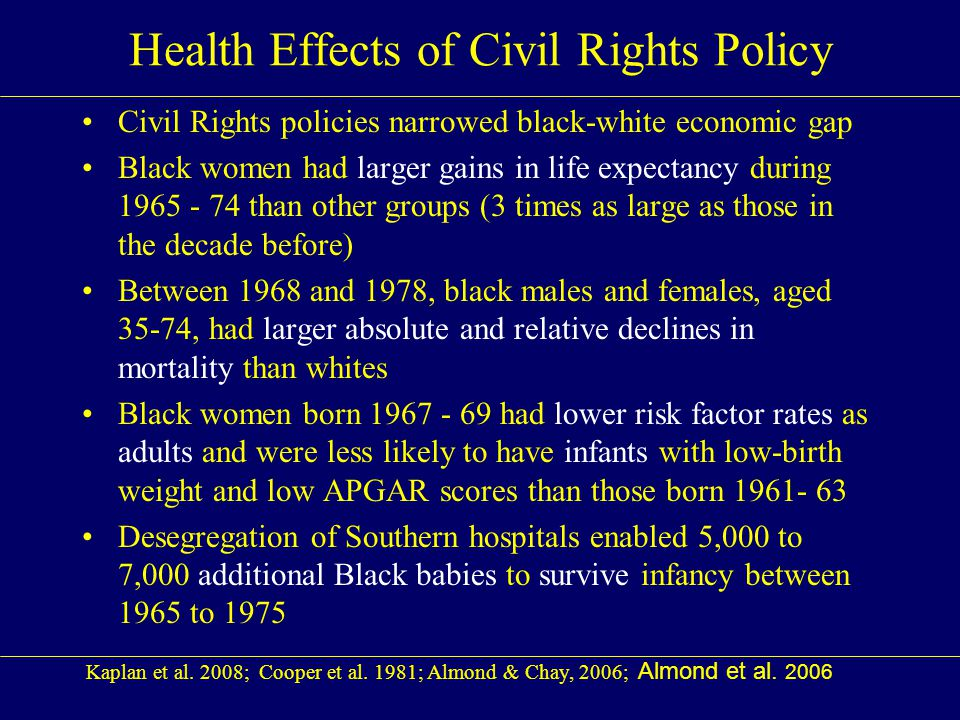 Health Effects of Civil Rights Policy Civil Rights policies narrowed black-white economic gap Black women had larger gains in life expectancy during 1