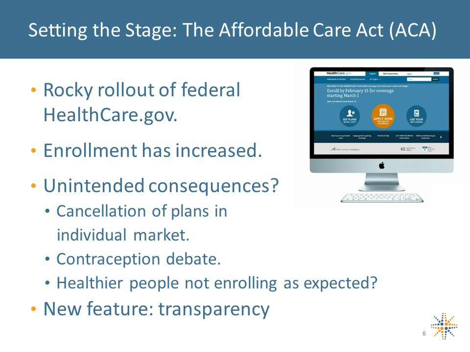 Rocky rollout of federal HealthCare.gov. Enrollment has increased.