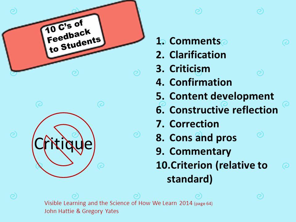 Critique 1. Comments 2. Clarification 3. Criticism 4. Confirmation 5. Content development 6. Constructive reflection 7. Correction 8. Cons and pros 9.