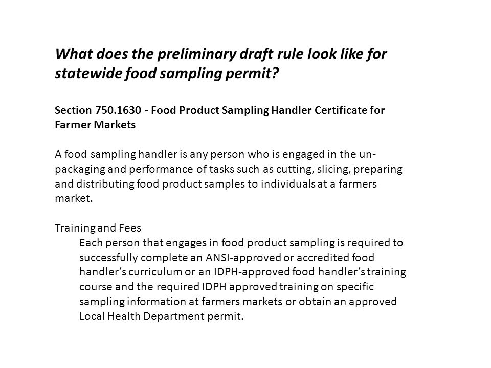 What does the preliminary draft rule look like for statewide food sampling permit.