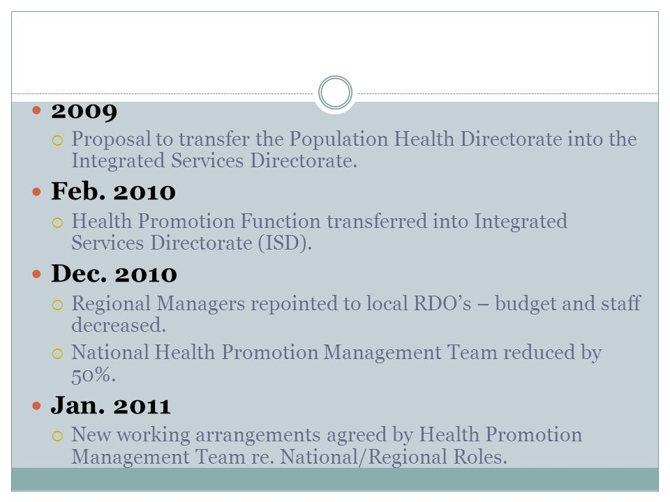 2009  Proposal to transfer the Population Health Directorate into the Integrated Services Directorate.