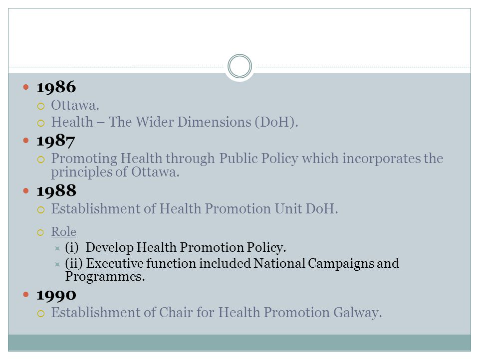 1986  Ottawa. Health – The Wider Dimensions (DoH).