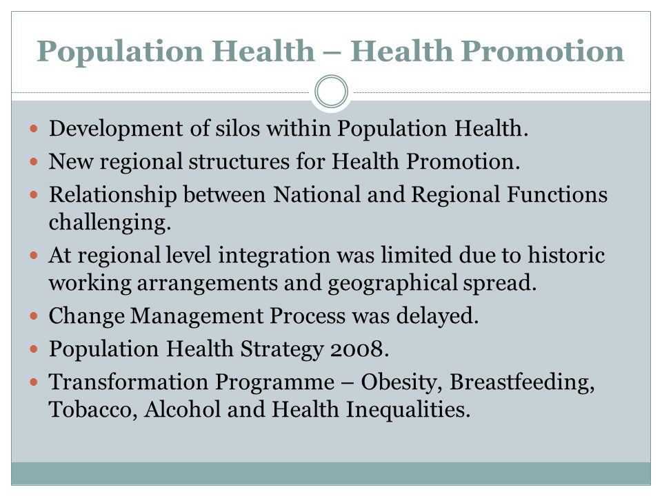 Population Health – Health Promotion Development of silos within Population Health.