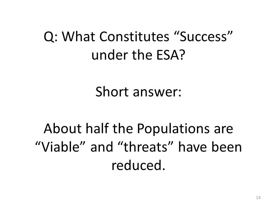 Q: What Constitutes Success under the ESA.