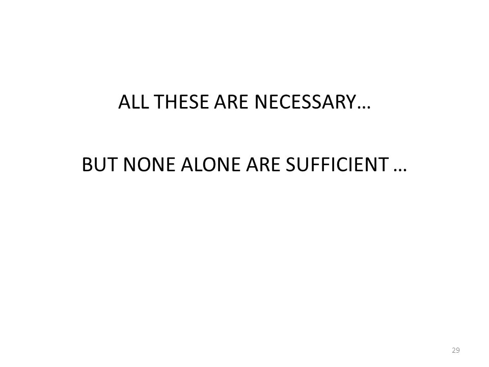 ALL THESE ARE NECESSARY… BUT NONE ALONE ARE SUFFICIENT … 29