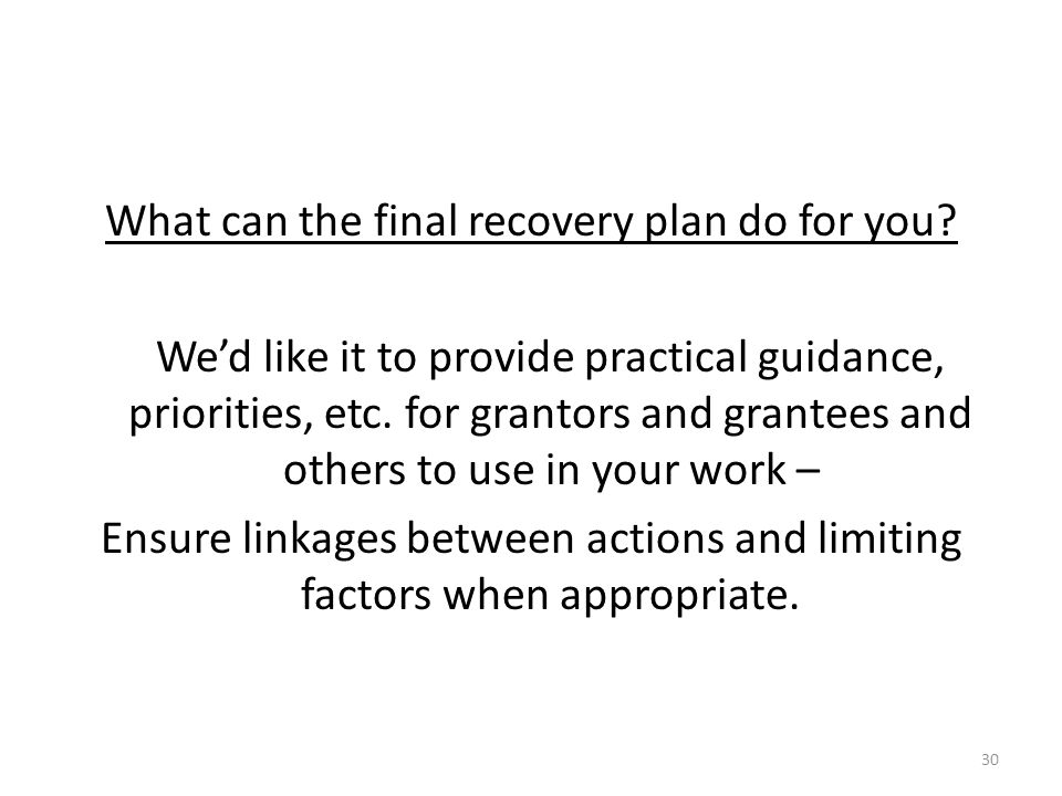 What can the final recovery plan do for you.