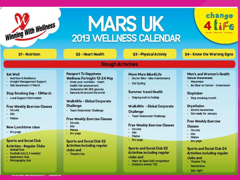 Wellness Capability: Making it Easy Continuous elements & focussed events supported by workplace well-being champions: On-site exercise classes and discounted gyms Wellness focus weeks and campaigns Continuous free or supported physical activities e.g.