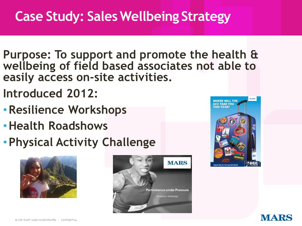 © COPYRIGHT MARS INCORPORATED | CONFIDENTIAL Sales Plan 23 4 hour performance under pressure workshop Information about smoking cessation, diet and nutrition and physical activity related topics and health concerns Information about our associate assistance programme Opportunity to have BP, cholesterol, BMI and glucose checks, advice and follow up with a qualified nurse Sports Relief activities 238 associates in 34 teams of 7 took part in a 16 week pedometer challenge