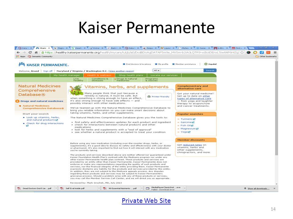 Kaiser Permanente 14 Private Web Site